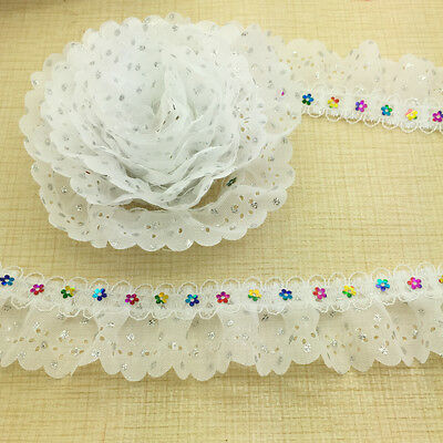 5 Yards 2-layer White Pleated Trim Gathered Ripple Mesh Lace Sequined Trim #-28