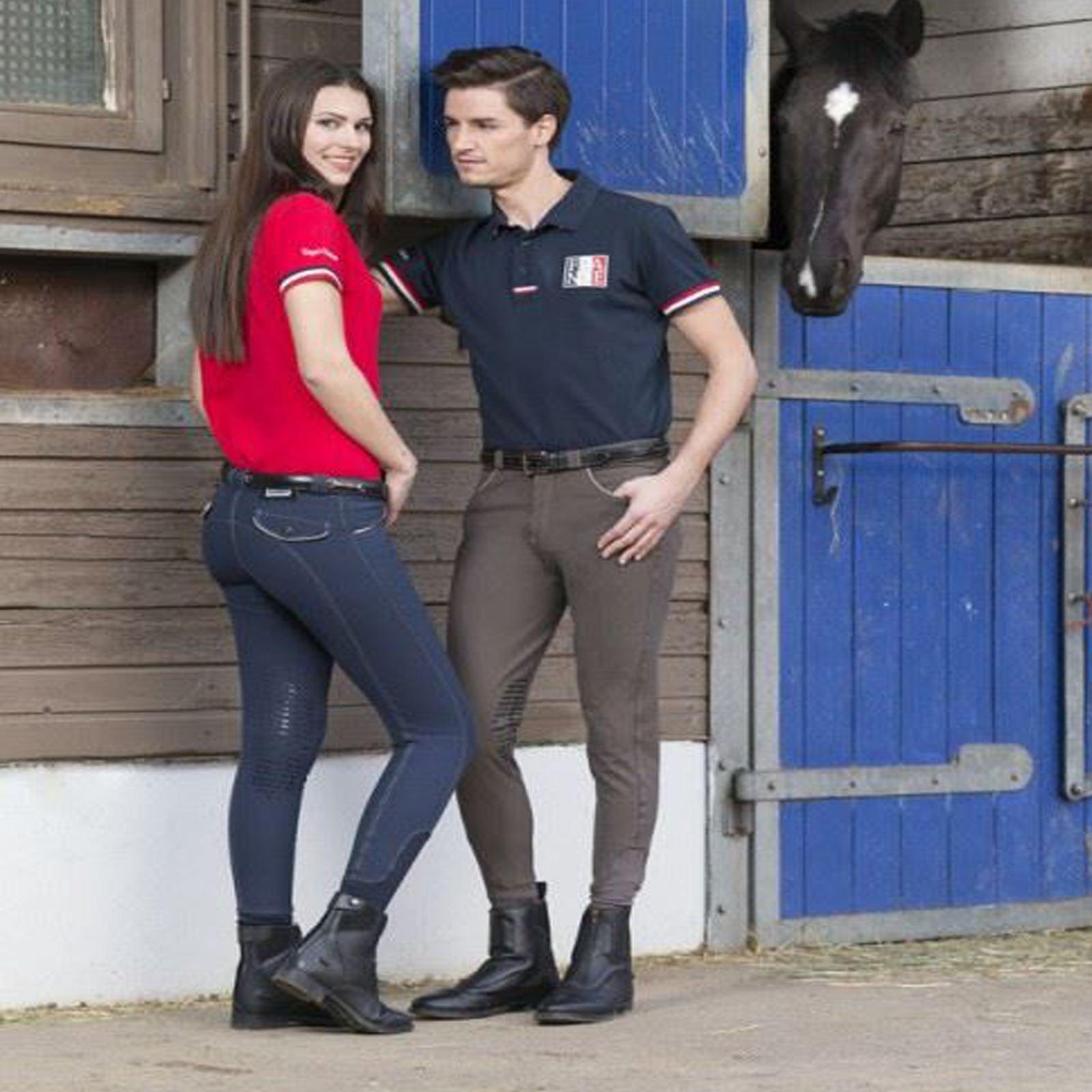 Equi-Theme Verona Breeches - Ladies Silicone Knee Patch Yard Pony Horse Riding