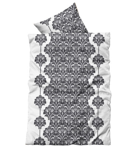 2 tlg Flausch Bettwäsche 135 x 200 cm Winter weiß schwarz Thermofleece