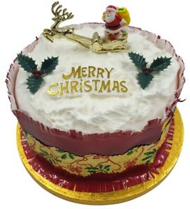 Details About 4 Piece Set Merry Christmas Cake Decorations Yule Log Cupcake Toppers