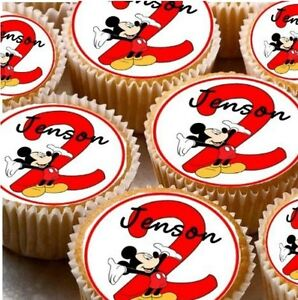 Image Is Loading 24 PERSONALISED MICKEY MOUSE MINNIE CAKE TOPPERS