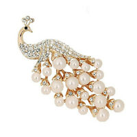 Luxury Gold And White Cream Pearls Peacock Corsage Bridal Brooch Pin Br153