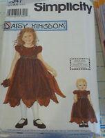 "S 9947 Daisy Kingdom Dress Girl & 18"" Doll Pattern"