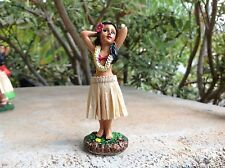 """Dashboard Aloha Doll Hula Girl Hawaiian Car Dance Polyresin 4"""" Tall   #40795"""