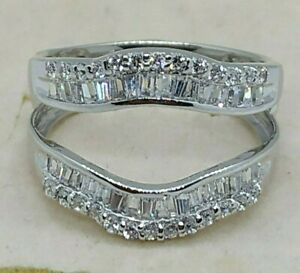 1-20Ct-Diamond-Solitaire-Jacket-Enhancer-Wedding-Wrap-Ring-14K-Gold-Over-Silver