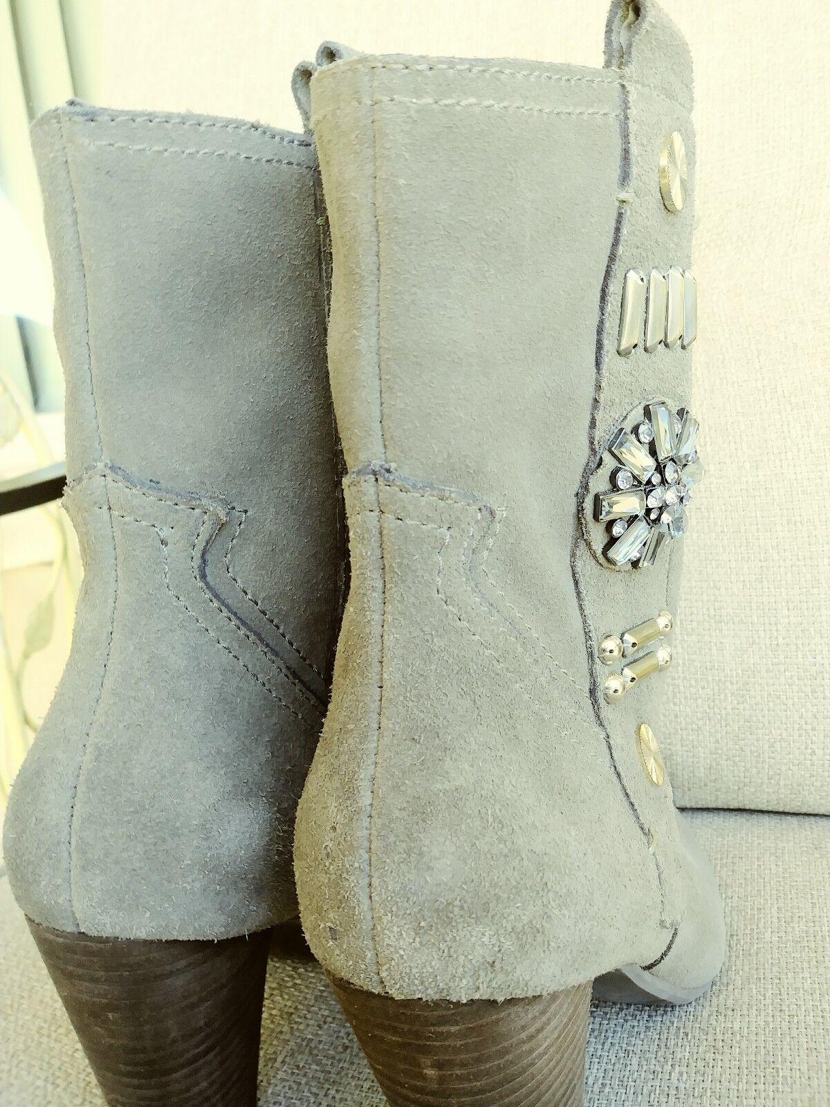 Designer Women's boots Designer grey taupe brooch bling bling bling 3  heels 7B 38 90cf64