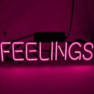 """Feelings Pink Neon Sign Beer Bar Gift 14""""X5"""" Light Lamp Decor Bedroom by Ebay Seller"""