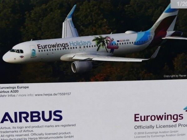 1 200 Herpa Eurowings Europe Airbus a320 Eurowings Holidays OE-IQD 559157