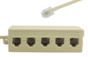 home telephone 5 way modular outlet landline jack cable. Black Bedroom Furniture Sets. Home Design Ideas