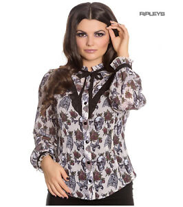 Hell-Bunny-Chiffon-Shirt-Top-Gothic-Skulls-Roses-GRISELDA-Blouse-Ivory-All-Sizes