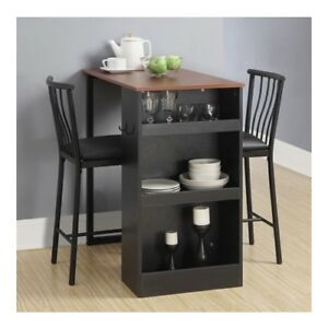 Details about Pub Dining Table Set Space Saver Counter Height Kitchen  Breakfast Bistro Bar