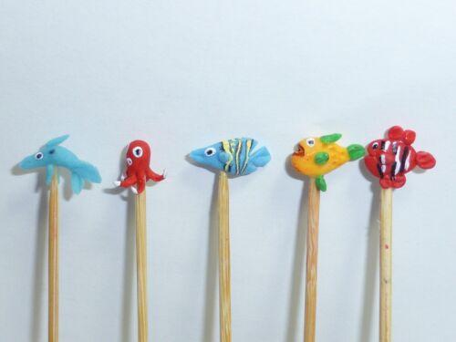 Hecho a mano las criaturas del mar 5 en un palo Casa de Muñecas en Miniatura de Juguete de Vivero