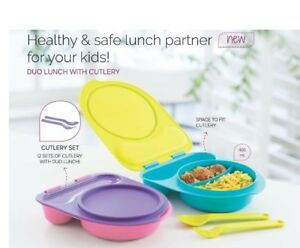 Tupperware-Duo-Kids-Lunch-Box-with-Cutlery-Set-Spon-amp-Fork-2-X-400-ml