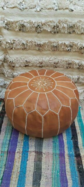 Authentic Round Brown leather Moroccan Pouf, Ottoman Pouf