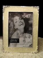 White Cream Pearlized Enamel Silver Tone Picture Frame Greentree Gallery 5x7