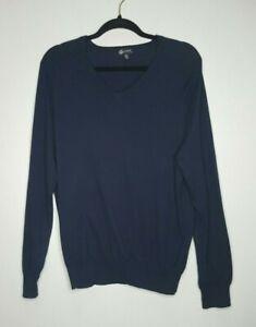 J-Crew-Sweater-Mens-Size-Medium-M-Navy-Blue-V-Neck-Long-Sleeves-Cotton-Blend