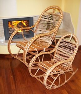 Image Is Loading Rocking Chair Natural Wicker Rattan HAND MADE Adult