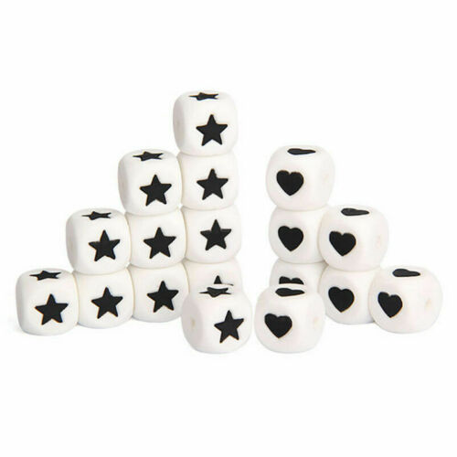 Star Heart Cube Silicone Beads Teething Chew Necklace DIY Baby Teether Making