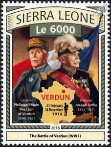 Fringant La Première Guerre Mondiale 1916 Bataille De Verdun ArmÉe FranÇaise Général Pétain & Maréchal Joffre Stamp-afficher Le Titre D'origine