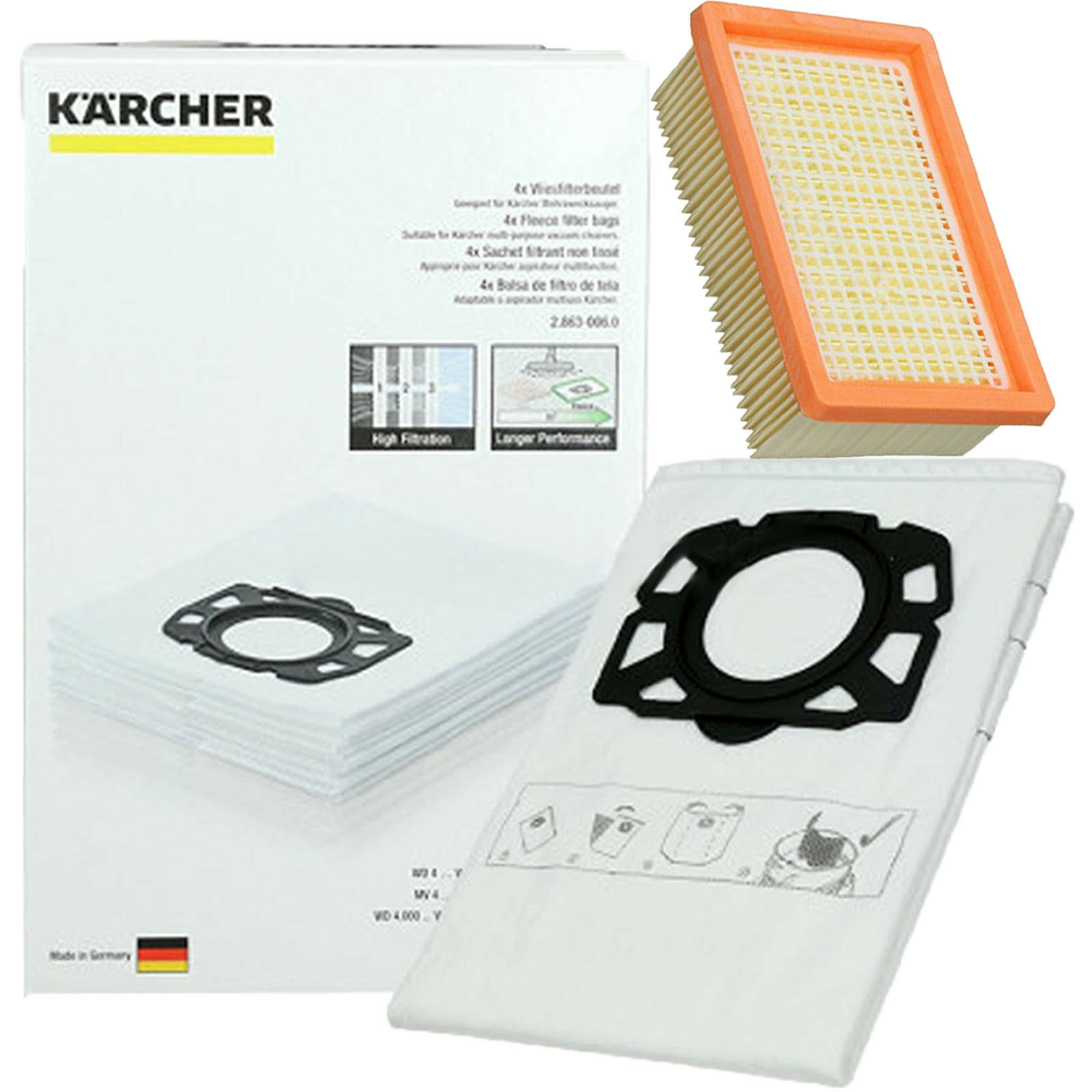 KARCHER WD4 WD5 WD6 Premium Renovation Vacuum Pleated Filter + 4 Dust Bags