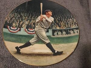 Babe Ruth 22kt gold trimmed plate from the Bradford Exchange w/COA