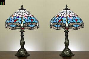 Pair-of-2-JT-Tiffany-Blue-Dragonfly-Stained-Glass-Table-Lamp-Bedside-Side