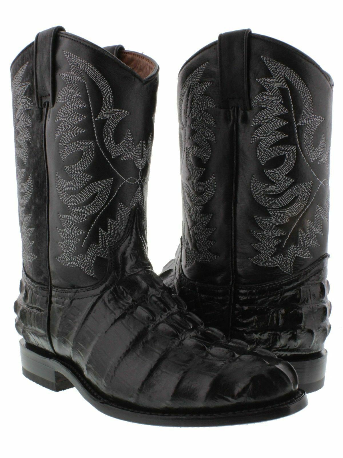 Cola De Cocodrilo Negro Para Hombre Desgaste Occidental botas De Vaquero Rodeo Leather Roper Toe