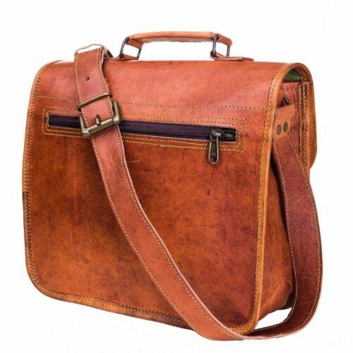 Laptop Briefcase Bag Mens Genuine Vintage Leather Satchel Messenger Man HandBag