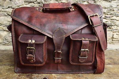 Men/'s Genuine Real Leather Handbag Briefcase Laptop Tote Shoulder Messenger Bag