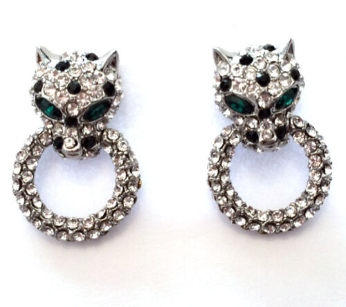 Butler and Wilson Small Clear Crystal Leopard Head Ring SILVER Tone Earrings NEW