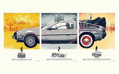 "Back to the Future 1 2 3 Movie Silk Cloth Poster 21 x 13"" Decor 02"