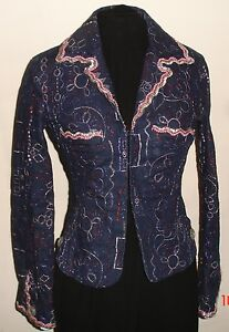 Metallic Size Embroidered Italy Voyage Passion Gorgeous 44 Jacket Denim Blue 7YtFxtq