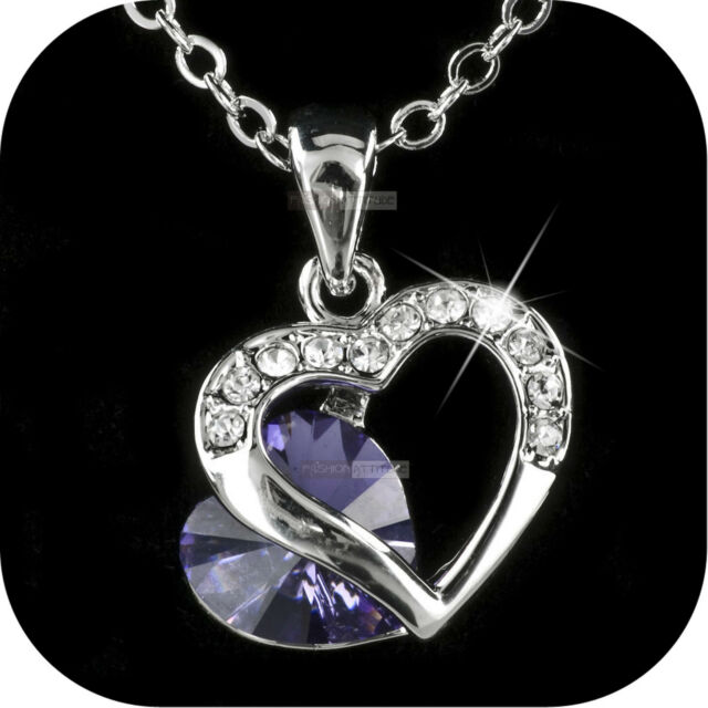 18K WHITE GOLD GF MADE WITH PURPLE SWAROVSKI CRYSTAL HEARTS PENDANT NECKLACE