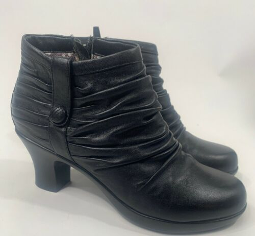 Dansko Size 40 9.5 Buffy Black Leather Ankle Boots