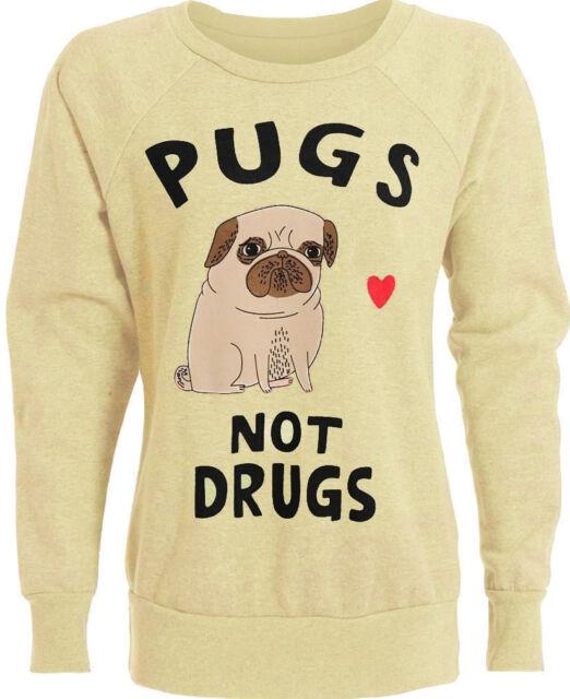 Womens Ladies Pugs Not Drugs Print Sweatshirt Pullover Jumper Top Sweater 8-14