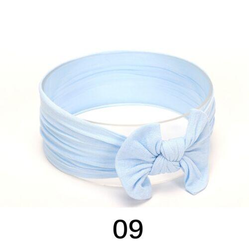 Baby Girls Bunny Rabbit Bowknot Turban Nylon Headband Elastic HairBand-Headwrap