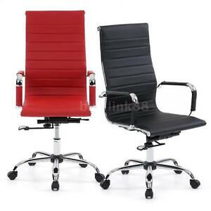 Modern Design Ribbed High Back PU Leather Office Chair Conference Room Stool