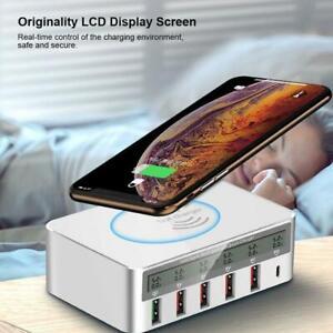 Typ-C-Wireless-Ladegeraet-USB-QC3-0-Schnellladung-LCD-Display-fuer-Handy-Mode