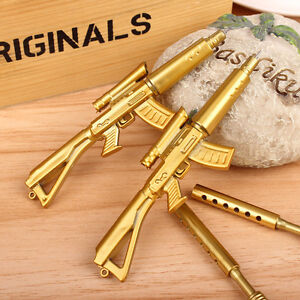 Novelty-Cute-Gold-Rifle-Shape-Design-Stationery-Collect-Black-Ink-Ballpoint-Pen