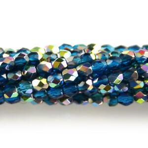 50 Topaz Czech Firepolish Faceted Round Glass Beads 3mm