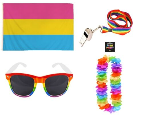 LGBT GAY PRIDE PANSEXUAL FLAG SUNGLASSES WHISTLE /& HULA LEI CARNIVAL FESTIVAL