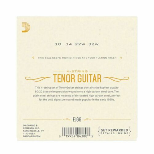 TENOR GUITAR STRINGS D/'ADDARIO EJ66-80//20 BRONZE 10-32