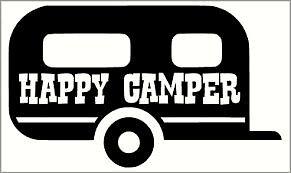 Happy Camper Caravan Vinyl Decal Sticker 200mm x 118mm