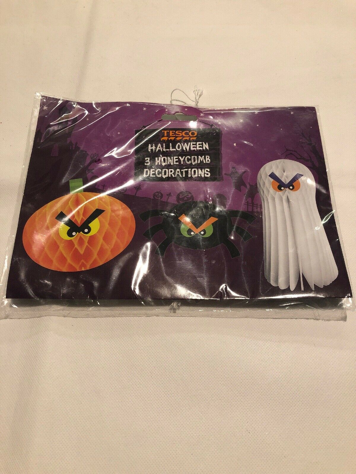 3 Halloween Party Spider Ghost Pumpkin Hanging Paper Honeycomb Decorations