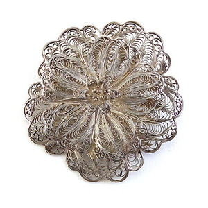 Large-Vintage-Mexican-Sterling-Silver-Filigree-Flower-Blossom-Pin-Brooch-20th-C