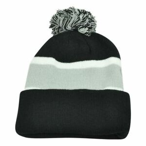 Details about Plain Blank Striped Cuffed Black Grey Thick Hat Beanie Pom Pom  Knit Skully Toque 7089bc293f5