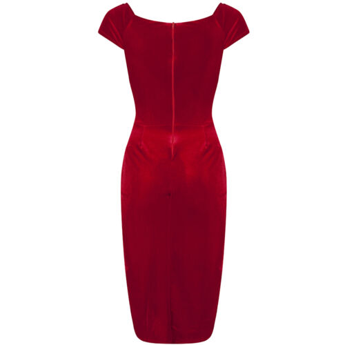Stunning Vintage 1940s Red Velour Crossover Wiggle Party Dress UK 8-18