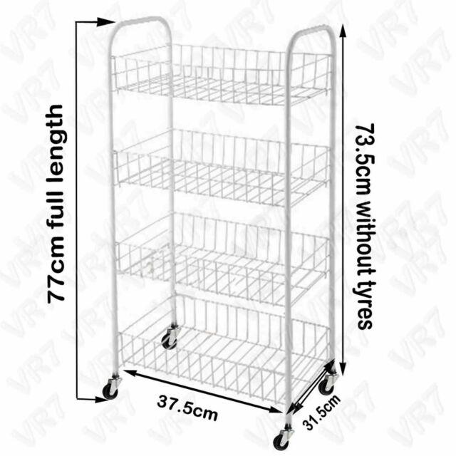 White, 2 Tier White, 2 Tier Fruit Vegetable 2 Tier Rack Storage Shelf Organizer Stand CART Trolley Kitchen