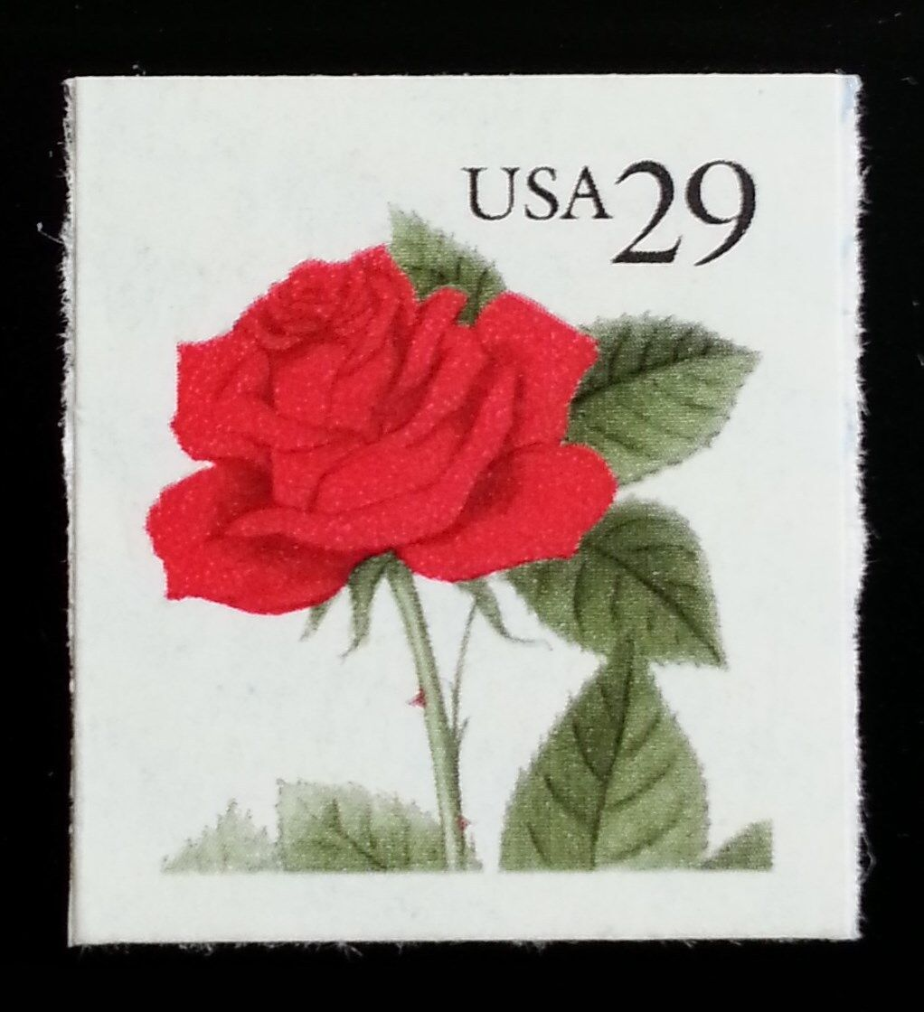 1993 29c Red Rose, Booklet Single Scott 2490 Mint F/VF