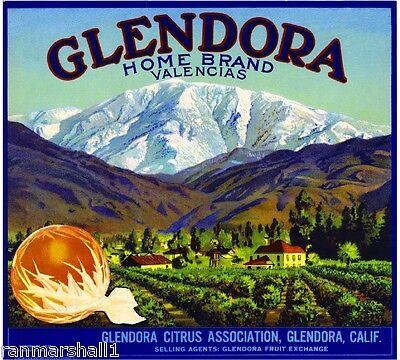 Glendora Los Angeles Dixie The Old South Lemon Citrus Fruit Crate Label Print